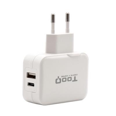Tooq Cargador de pared doble USB-c+ USB A - Imagen 1