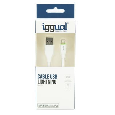 iggual cable USB-A/Lightning 100 cm blanco - Imagen 1
