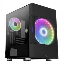 Aerocool Caja ATOMIC M-ATX, Vent 2x, RGB,Temp wind - Imagen 1