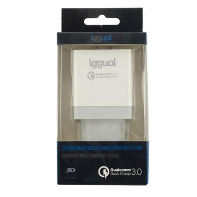 iggual Cargador 2xUSB carga rápida QC3.0 30W - Imagen 1