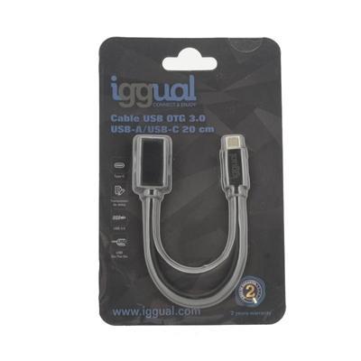 iggual Cable USB OTG 3.0 USB-A/USB-C 20 cm negro - Imagen 1