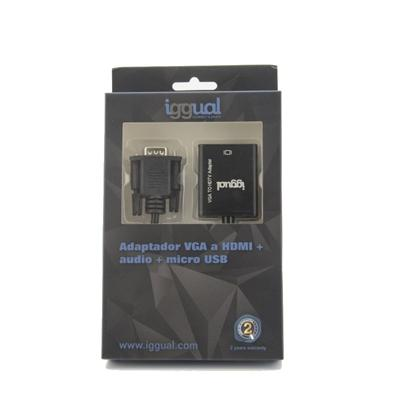 iggual Adaptador VGA a HDMI + audio + microUSB - Imagen 1