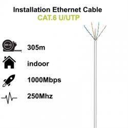 Ewent Bobina cable red Cat. 6 U/UTP, PVC, 305mt - Imagen 1